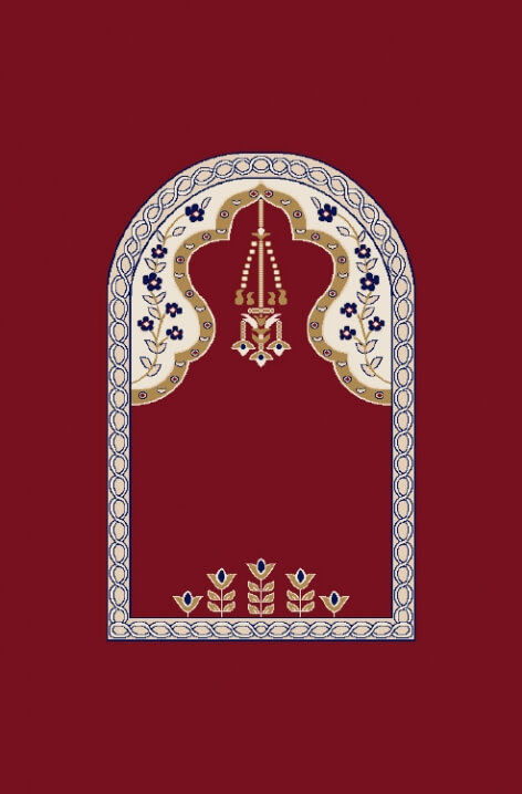 Bordo - Seccadeli Cami Halısı Modeli