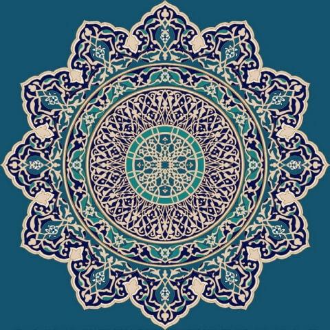 Koyu Mavi - Göbekli Cami Halısı Modeli